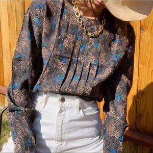 Vintage pleated floral rayon blouse